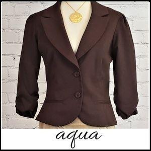 AQUA 3/4 Sleeve Dark Brown Ruched Sleeve Blazer L